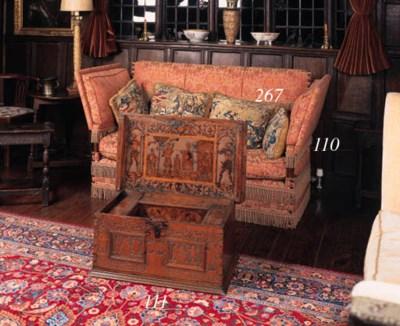 A beechwood framed Knole sofa,