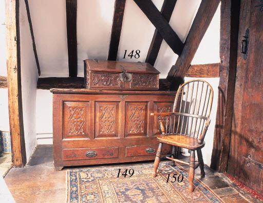 An oak slope top box, English,