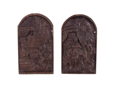 A pair of relief carved oak pa