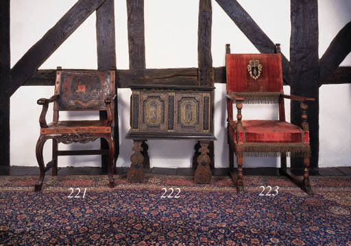 A painted cabinet-on-stand, pr