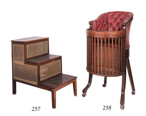 A set of mahogany commode bed