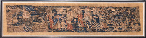 An embroidered border, 17th ce