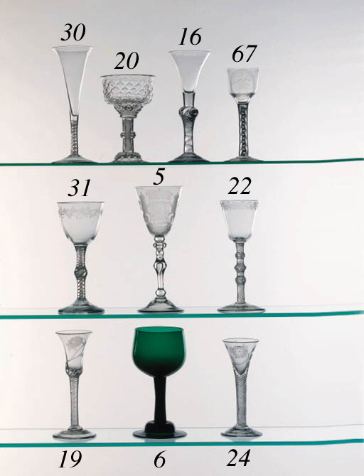 A composite-stemmed wine glass