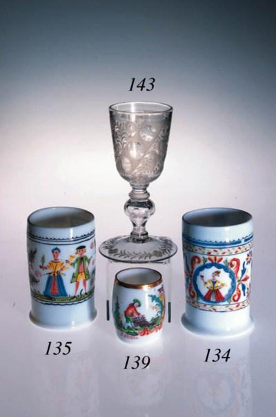 A Bohemian Milchglas enamelled