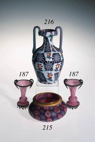 A Murano millefiori two-handle