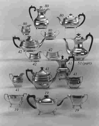 A modern three-piece tea set,
