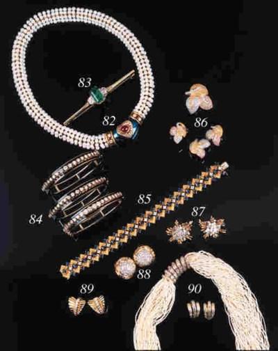 Three diamond line bangles,