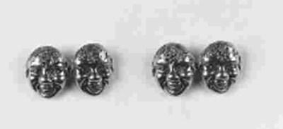 A pair of bacchaus mask cuffli