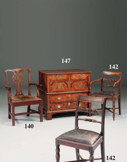 A set of seven Scottish, late Regency mahogany dining chairs