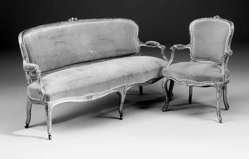 A French matched giltwood suite, late 19th century