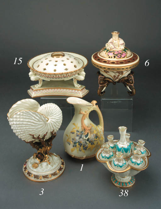 A Royal Worcester ivory-ground pot pourri and cover