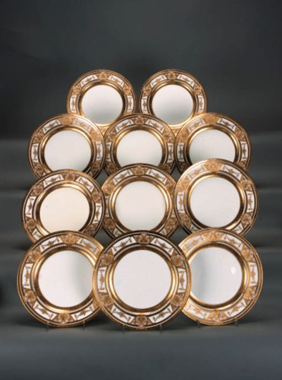 Eleven Minton ivory and gilt d