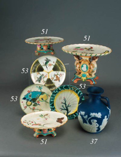A Wedgwood majolica three piec