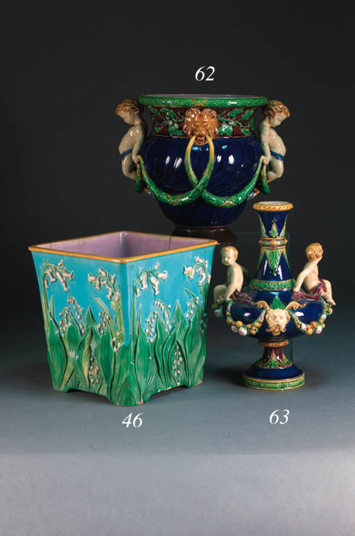 A Minton majolica dark-blue-ground two-handled gadrooned vase