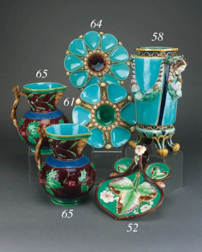 A pair of Minton majolica 'Chr
