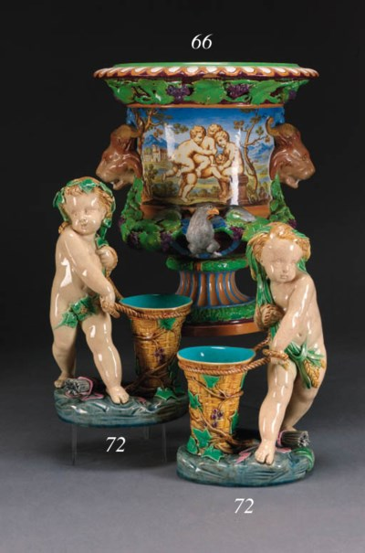 A Minton majolica campana urn
