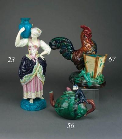 A majolica spill vase modelled