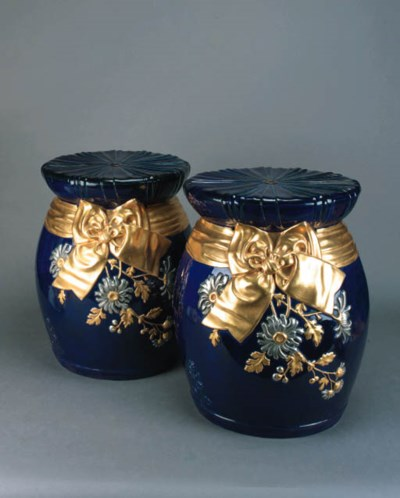 A pair of Minton pottery barre