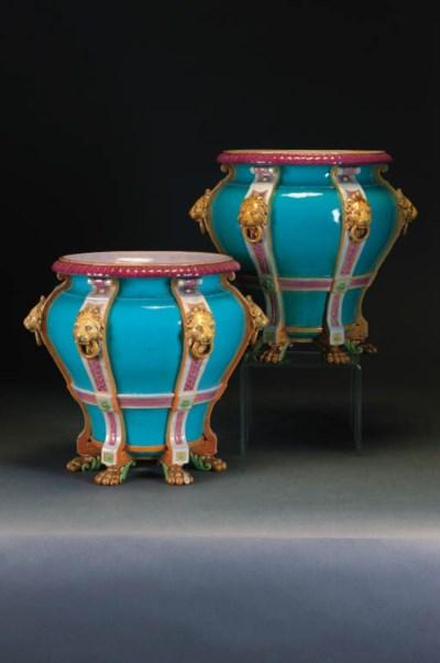 A pair of Minton majolica turq