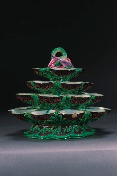 A Minton majolica oyster-stand