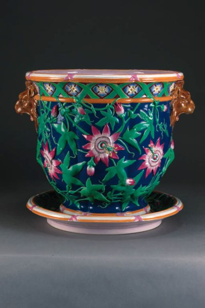 A Minton majolica blue-ground