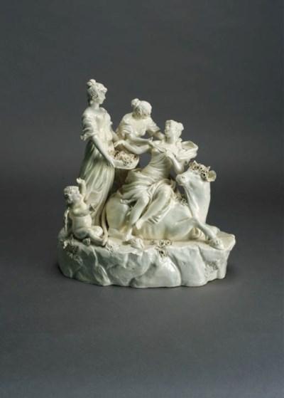 A Naples creamware group of Eu