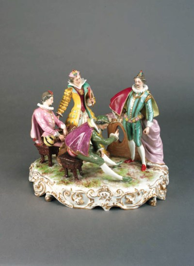 A Continental porcelain group