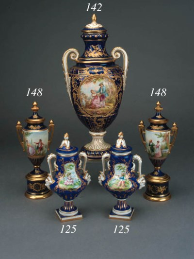 A pair of Sèvres style dark-bl