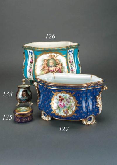 A Sèvres style blue-ground sha