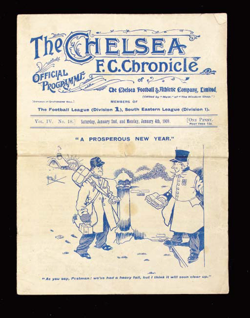 Chelsea v. Liverpool, match programme, 2/1/1909, and included in the same programme, Chelsea v. Queen's Park Rangers, South Eastern League, 4/1/1909, horizontal and vertical folds, some tearing at folds