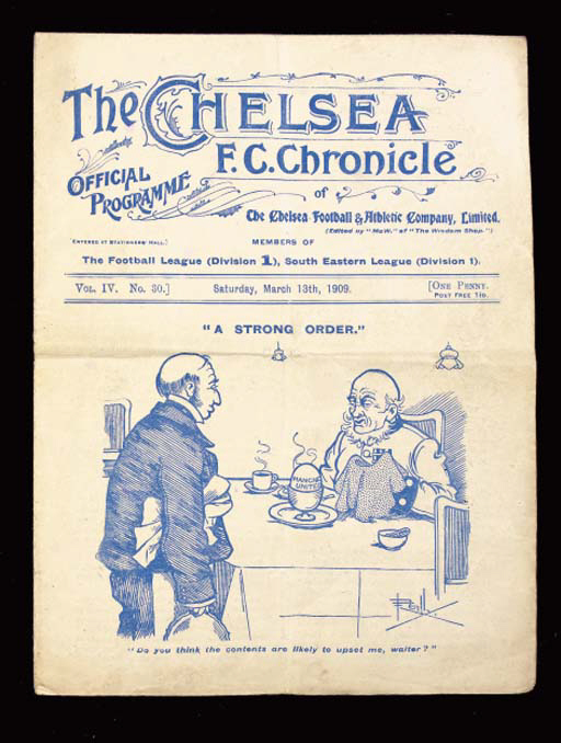Chelsea v. Manchester United, match programme, 13/3/1909, horizontal and vertical folds, with slight tearing at folds