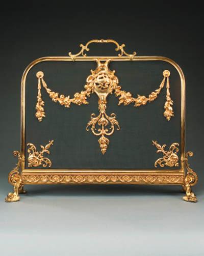 A French gilt bronze firescree