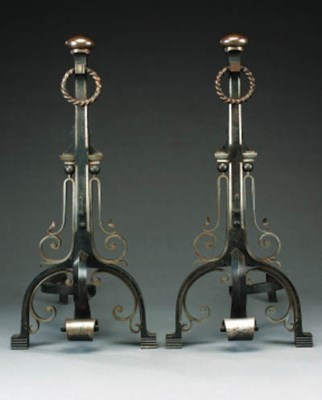 A pair of French steel andiron