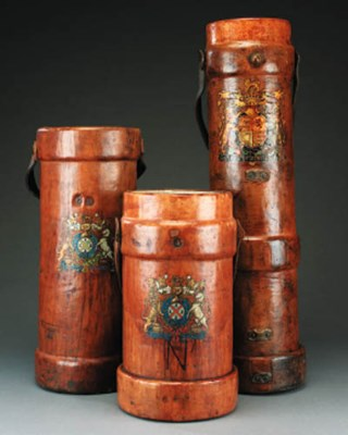 Three leather cordite cases, e