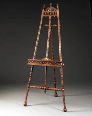 A French carved beech easel, e