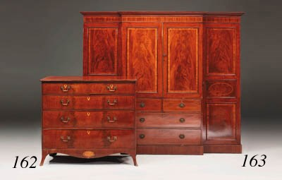 A mahogany and inlaid chest, e