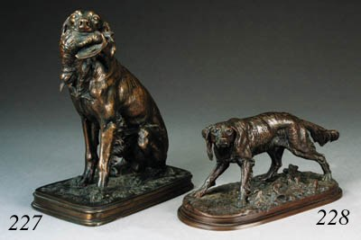 A French bronze model of seate