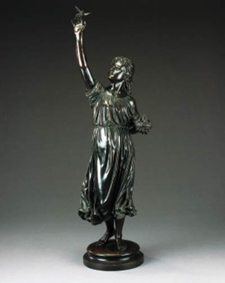 A bronze model of a lady, late