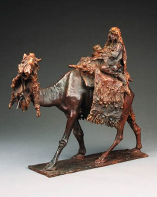 A bronze group of a nomad woma