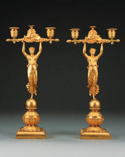 A pair of Restauration gilt br
