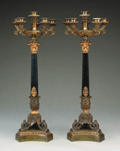 A pair of French six light gil
