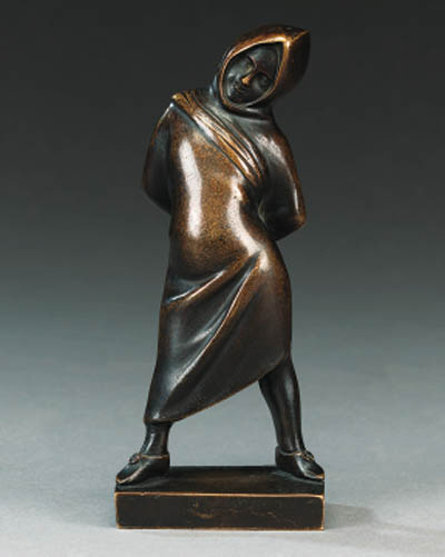 A French bronze model of a boy