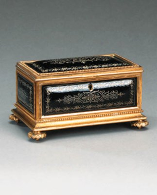 A French gilt brass and enamel