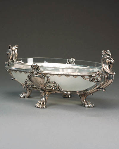 A French silvered bronze centr