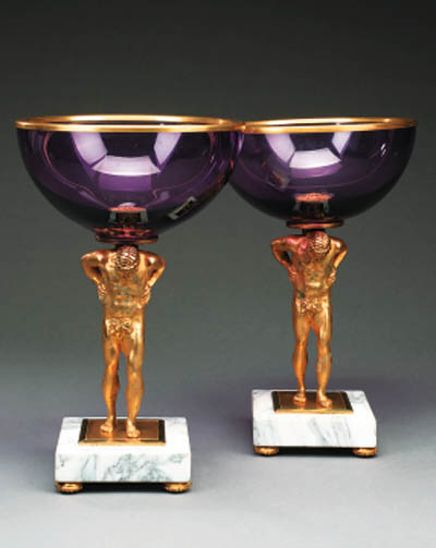A pair of gilt bronze, glass a