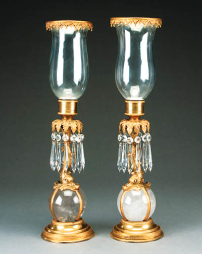 A pair of gilt bronze and rock