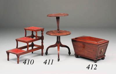 A set of mahogany triple tread