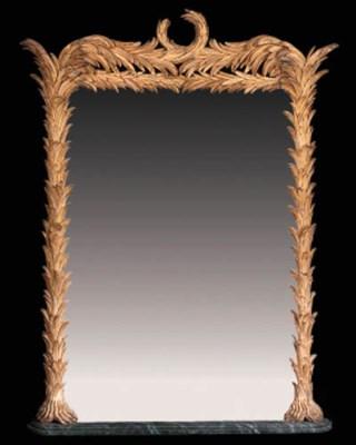 A giltwood palm leaf overmante