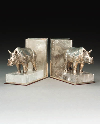 A pair of silvered brass and r