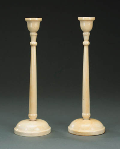 A pair of late Victorian ivory